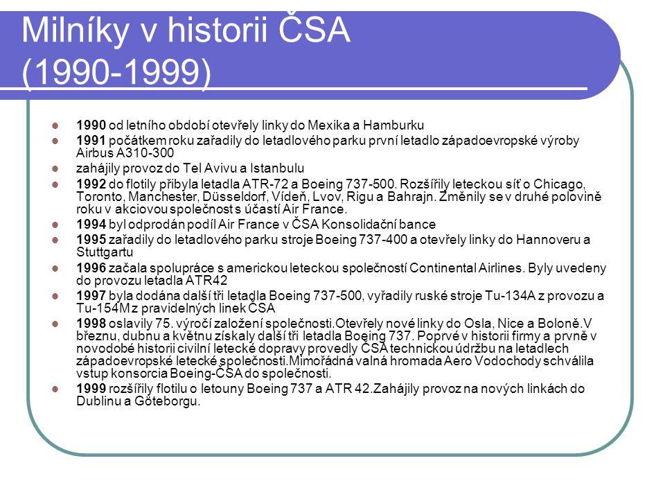 Milníky v historii ČSA (1990-1999)