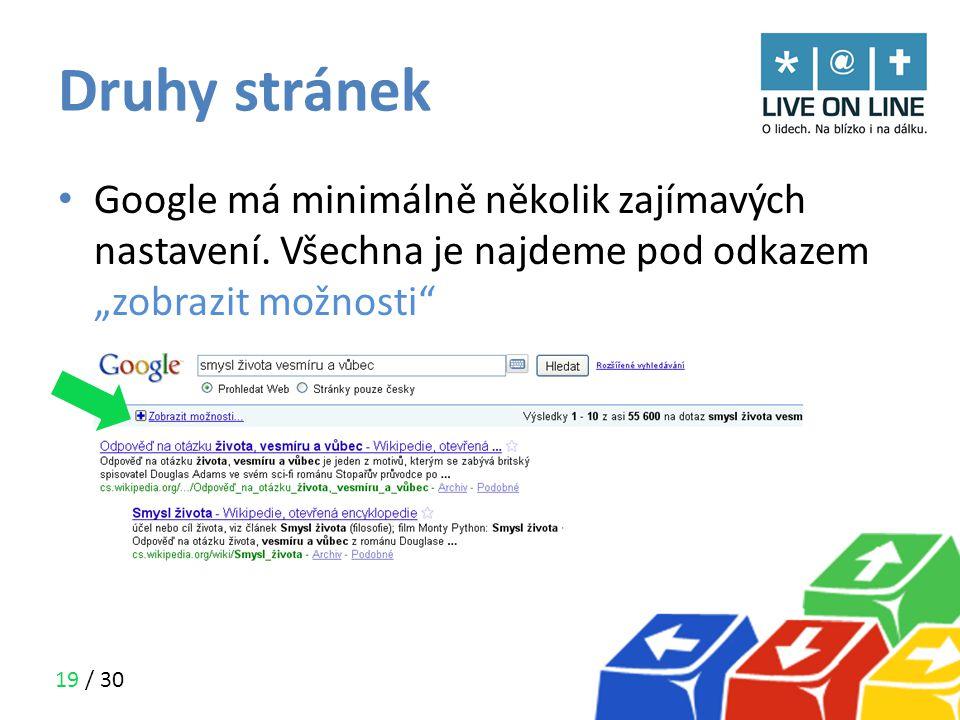 Druhy stránek Google má minimálně několik zajímavých nastavení.