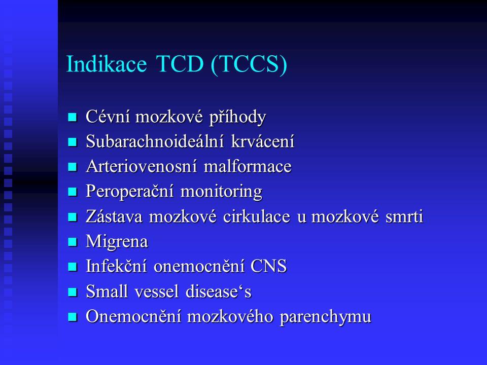 Indikace TCD (TCCS) Cévní mozkové příhody Subarachnoideální krvácení