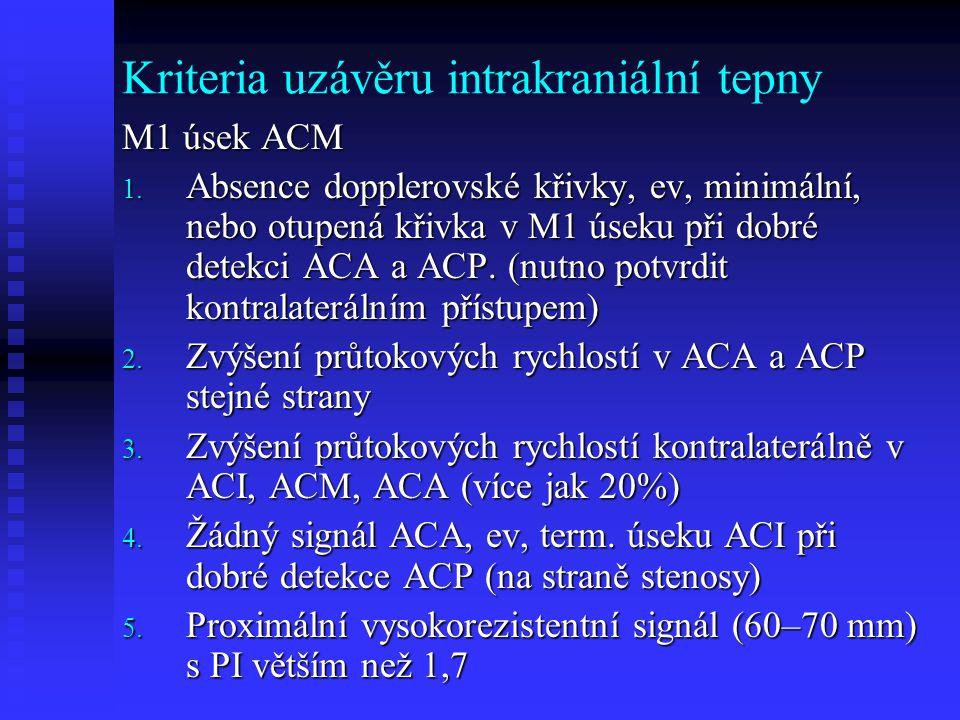 Kriteria uzávěru intrakraniální tepny
