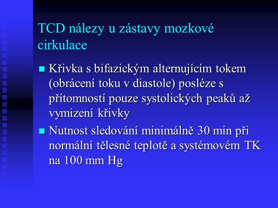 TCD nálezy u zástavy mozkové cirkulace