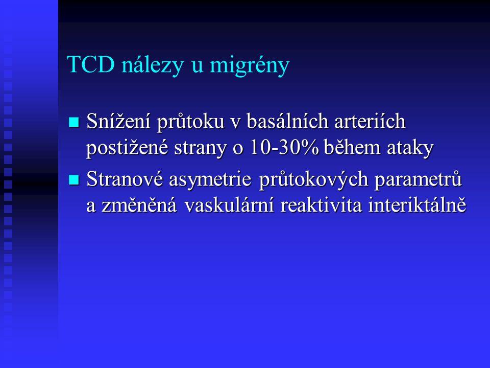 TCD nálezy u migrény Snížení průtoku v basálních arteriích postižené strany o 10-30% během ataky.