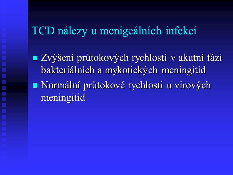 TCD nálezy u menigeálních infekcí