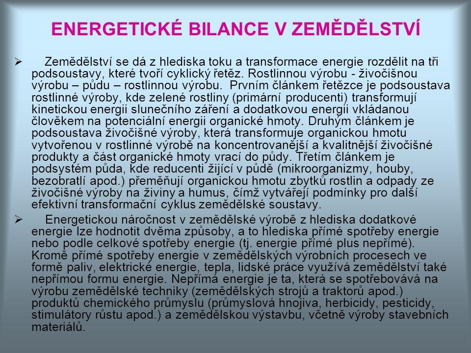 ENERGETICKÉ BILANCE V ZEMĚDĚLSTVÍ