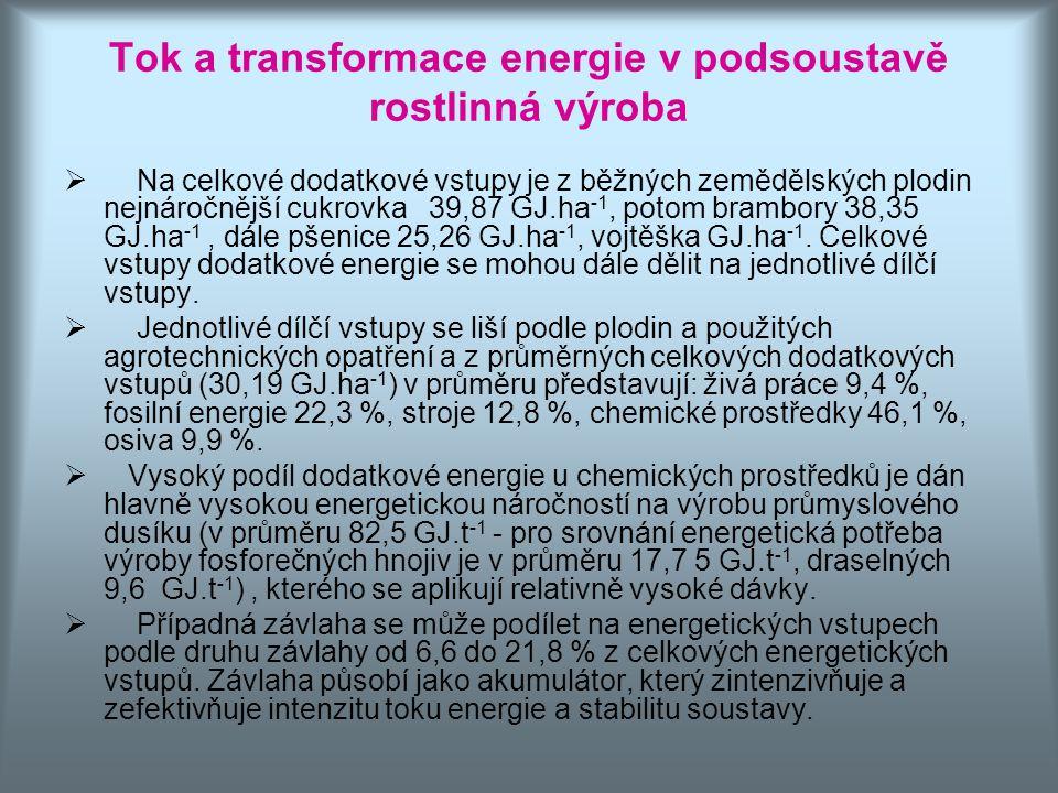 Tok a transformace energie v podsoustavě rostlinná výroba