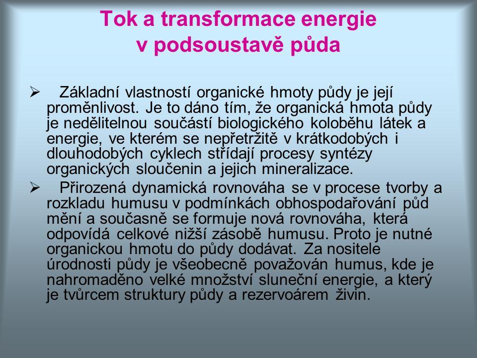 Tok a transformace energie v podsoustavě půda