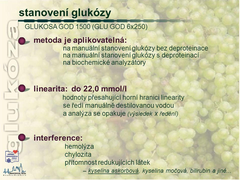 stanovení glukózy GLUKOSA GOD 1500 (GLU GOD 6x250)