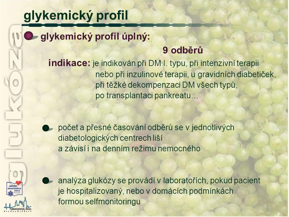 glykemický profil glykemický profil úplný: 9 odběrů