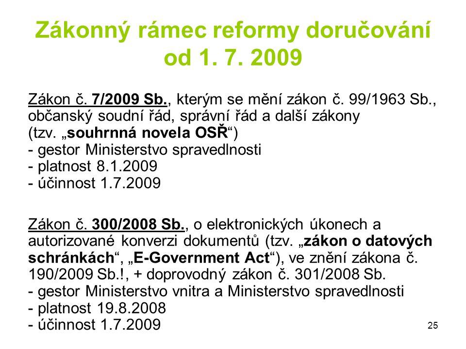 Zákonný rámec reformy doručování od 1. 7. 2009
