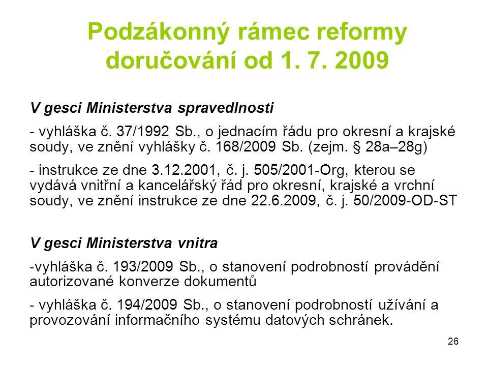 Podzákonný rámec reformy doručování od 1. 7. 2009