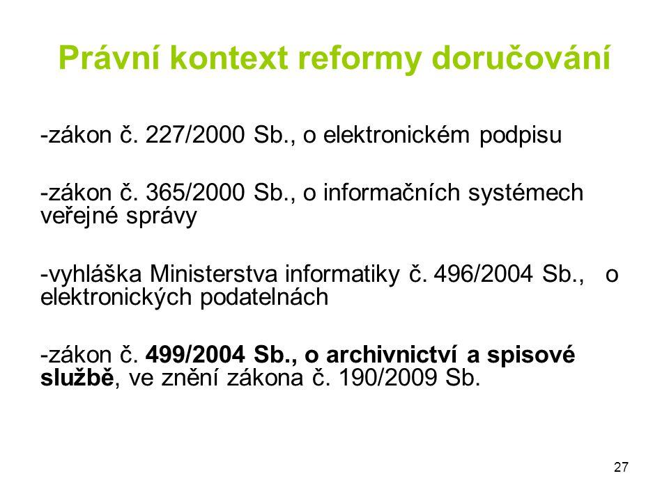 Právní kontext reformy doručování