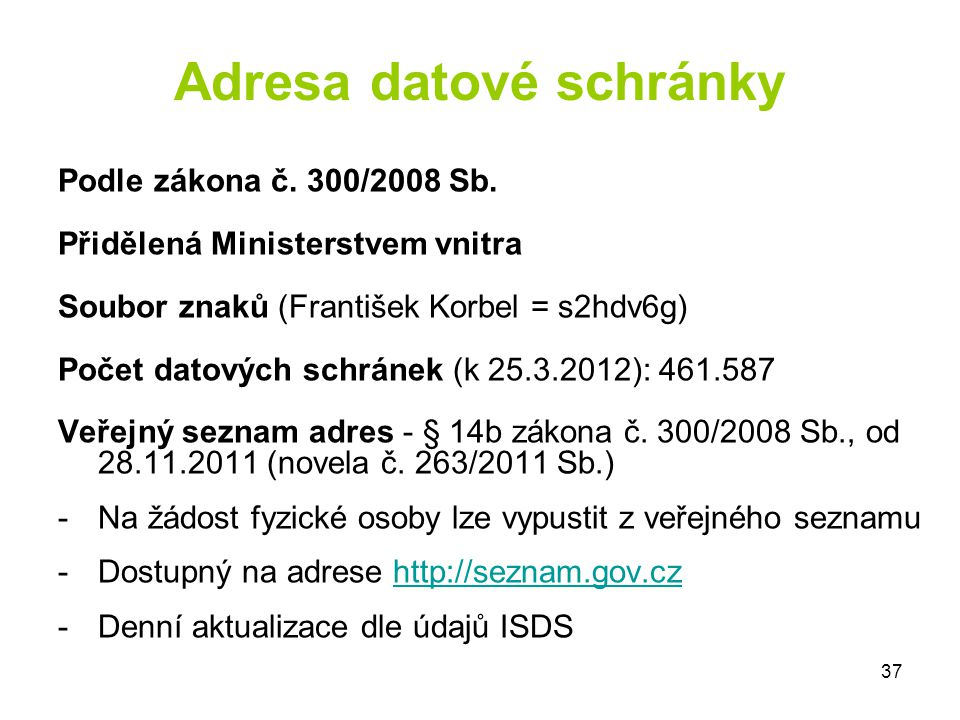 Adresa datové schránky