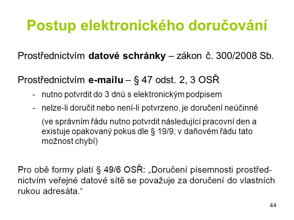 Postup elektronického doručování