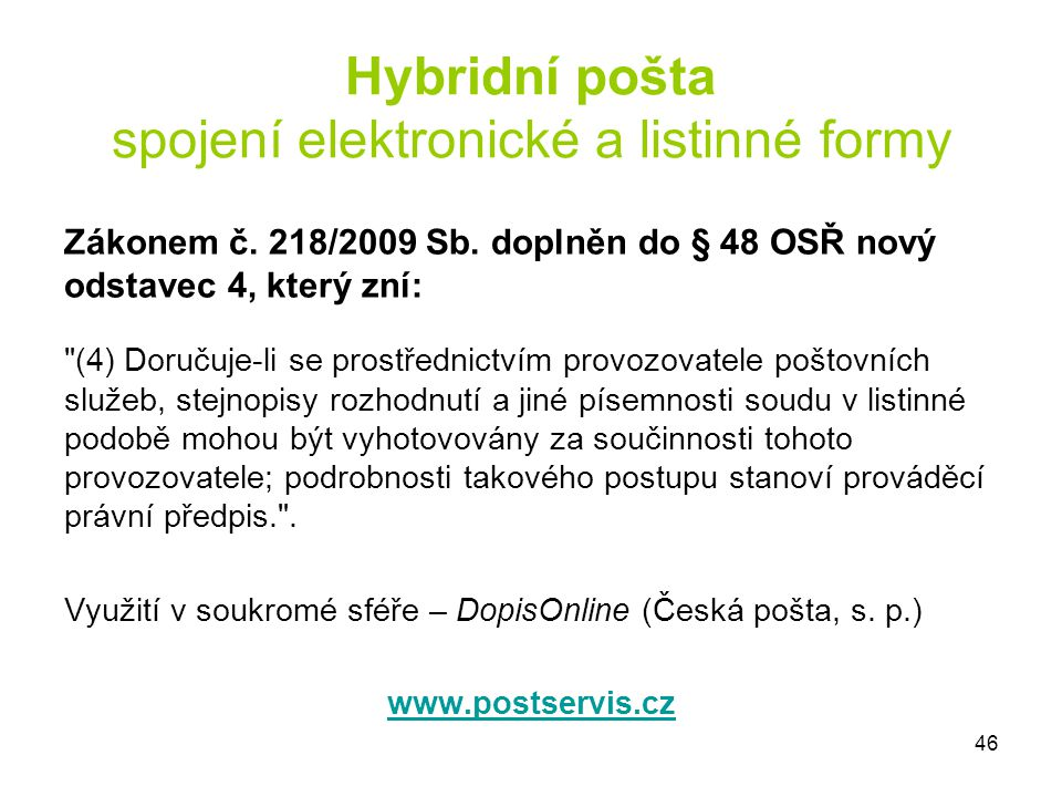 Hybridní pošta spojení elektronické a listinné formy