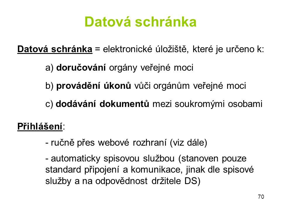 Datová schránka Datová schránka = elektronické úložiště, které je určeno k: a) doručování orgány veřejné moci.