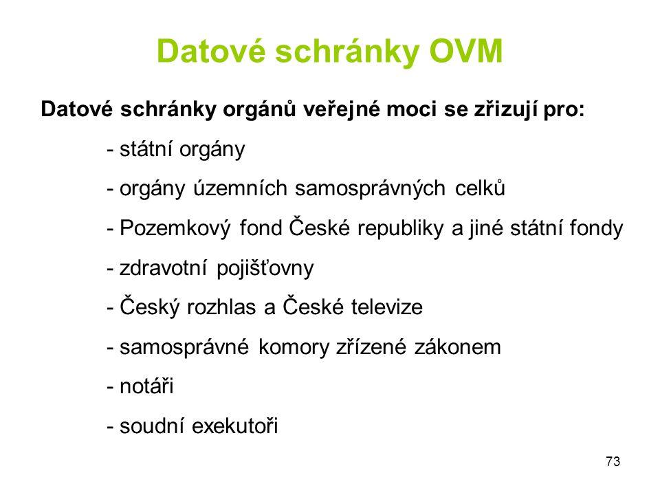 Datové schránky OVM Datové schránky orgánů veřejné moci se zřizují pro: - státní orgány. - orgány územních samosprávných celků.
