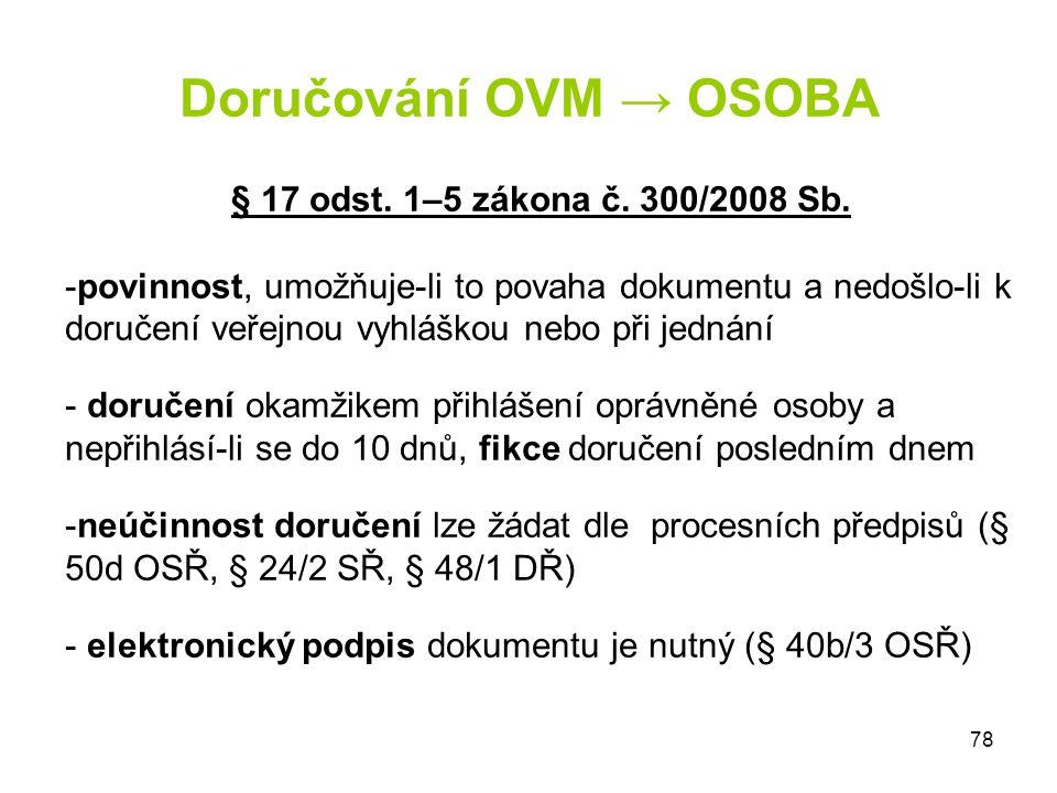 Doručování OVM → OSOBA § 17 odst. 1–5 zákona č. 300/2008 Sb.