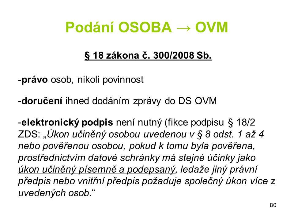 Podání OSOBA → OVM § 18 zákona č. 300/2008 Sb.