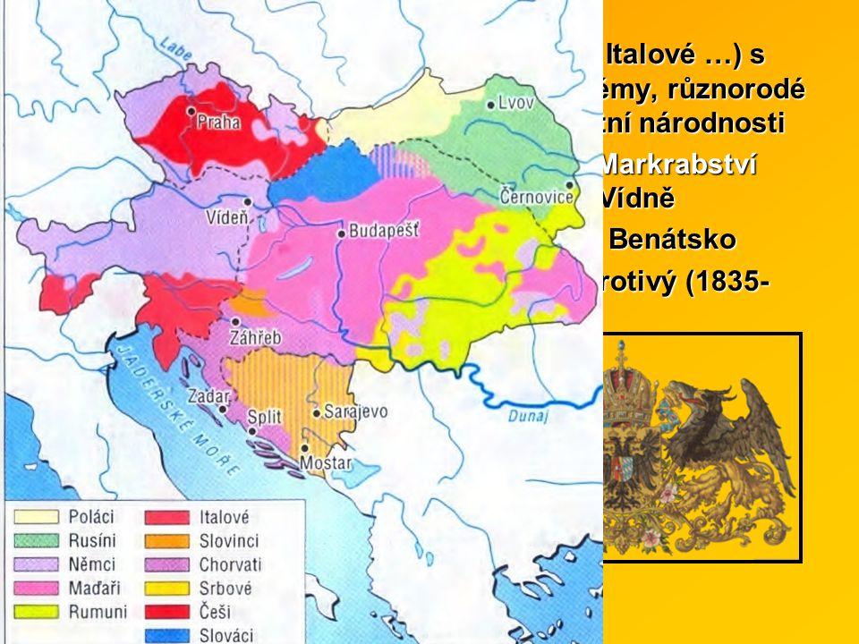 mnohonárodnostní říše (Němci, Slované, Italové …) s mnoha politickými i ekonomickými problémy, různorodé zájmy, Němci se sklony podceňovat ostatní národnosti