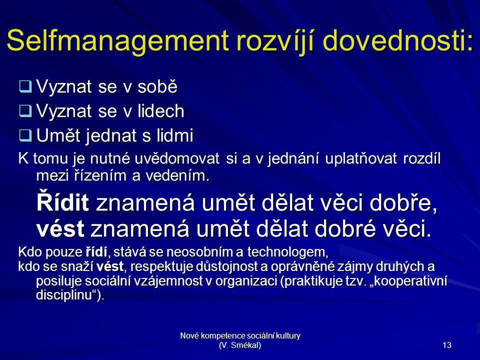 Selfmanagement rozvíjí dovednosti: