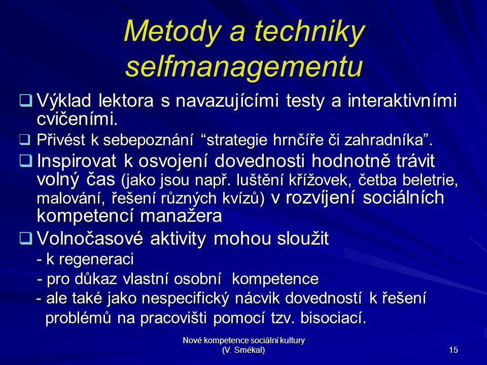 Metody a techniky selfmanagementu