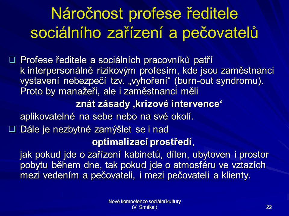 Náročnost profese ředitele sociálního zařízení a pečovatelů