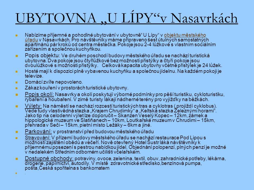"""UBYTOVNA """"U LÍPY v Nasavrkách"""