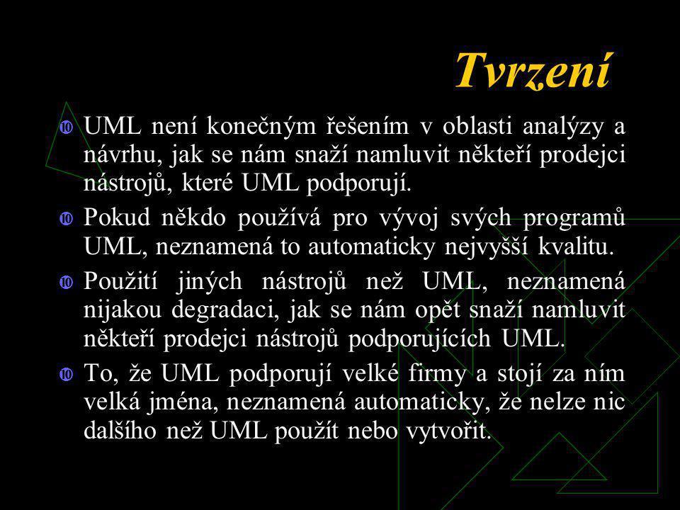 Tvrzení UML není konečným řešením v oblasti analýzy a návrhu, jak se nám snaží namluvit někteří prodejci nástrojů, které UML podporují.