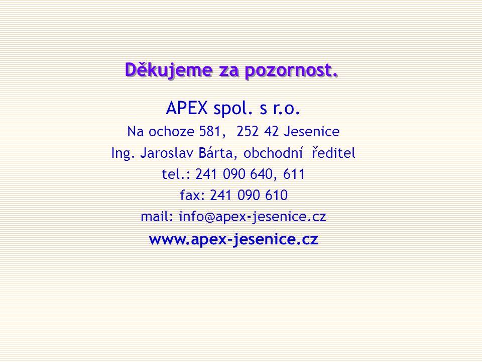 Děkujeme za pozornost. APEX spol. s r.o. www.apex-jesenice.cz