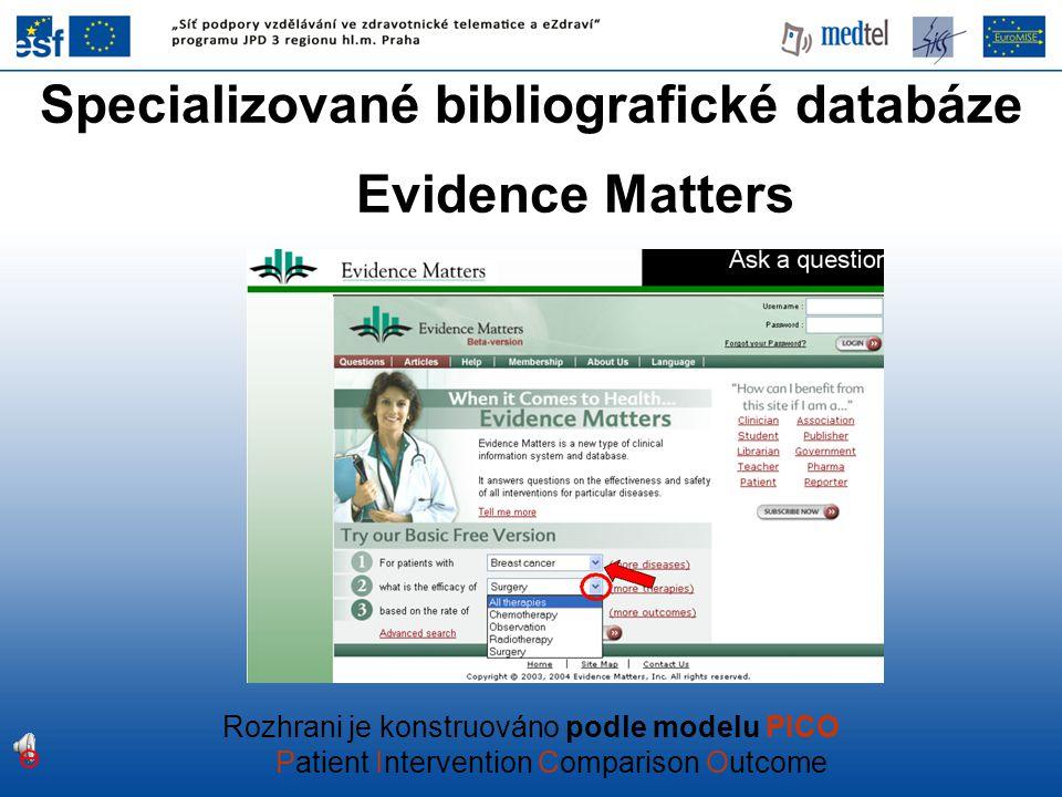 Specializované bibliografické databáze Evidence Matters