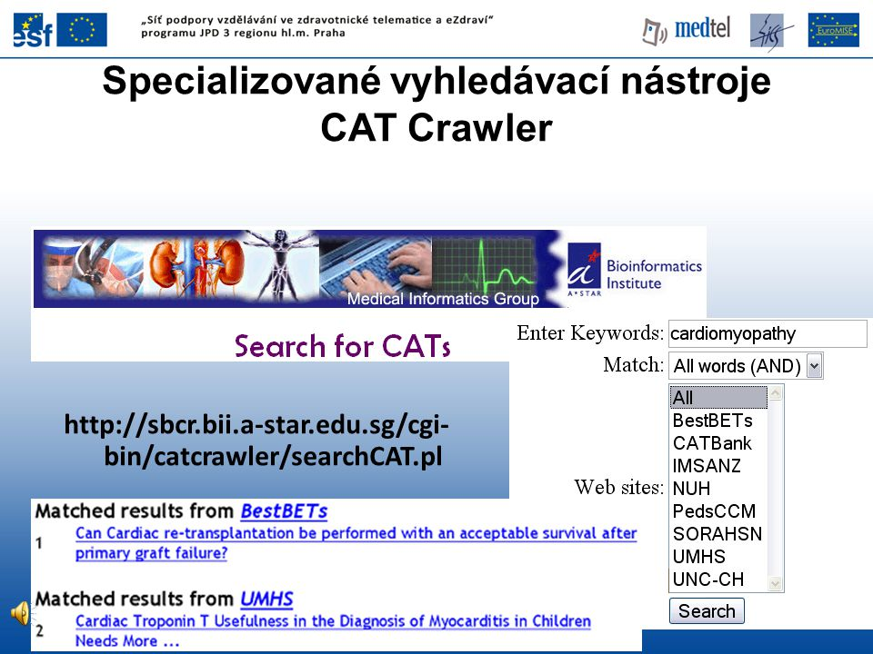 Specializované vyhledávací nástroje CAT Crawler