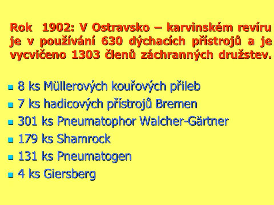8 ks Müllerových kouřových přileb 7 ks hadicových přístrojů Bremen
