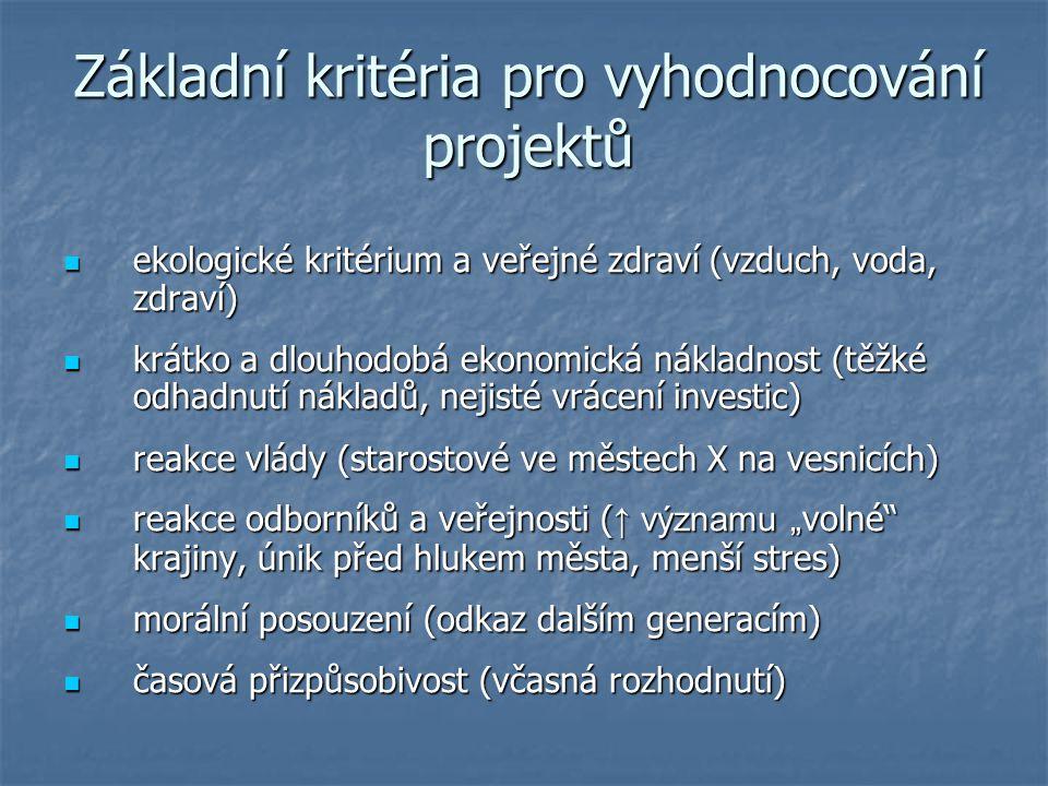 Základní kritéria pro vyhodnocování projektů