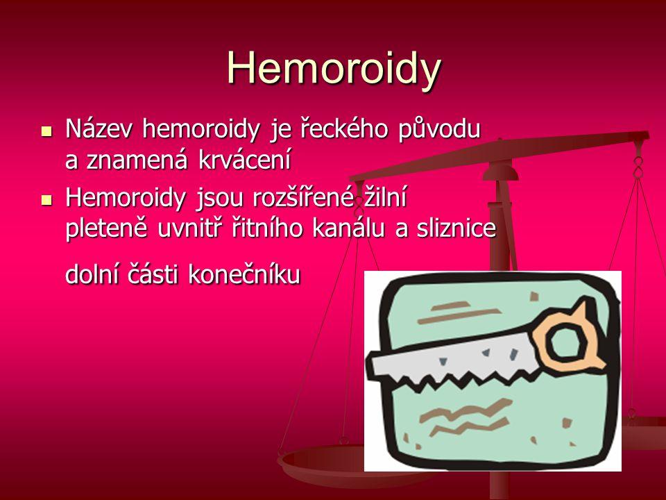 Hemoroidy Název hemoroidy je řeckého původu a znamená krvácení
