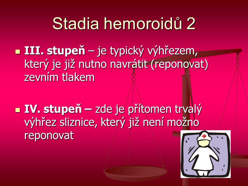 Stadia hemoroidů 2 III. stupeň – je typický výhřezem, který je již nutno navrátit (reponovat) zevním tlakem.