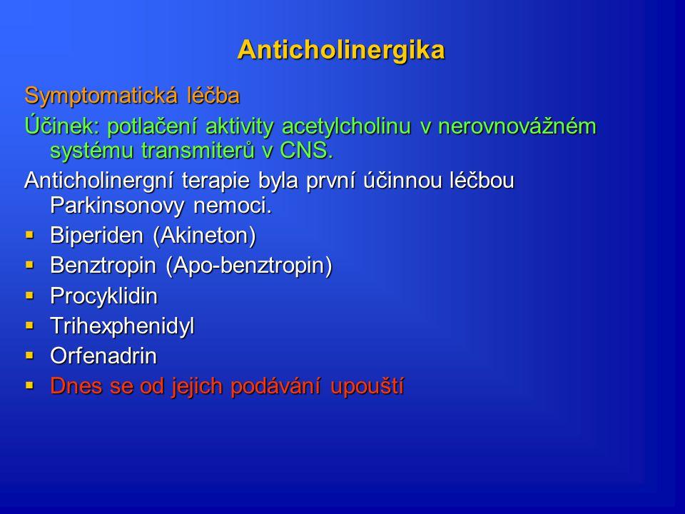 Anticholinergika Symptomatická léčba