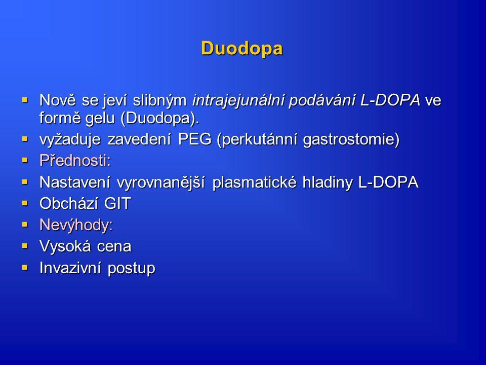 Duodopa Nově se jeví slibným intrajejunální podávání L-DOPA ve formě gelu (Duodopa). vyžaduje zavedení PEG (perkutánní gastrostomie)