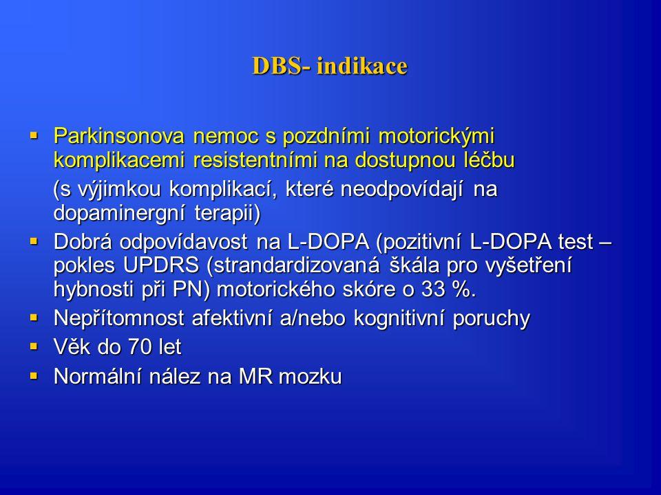 DBS- indikace Parkinsonova nemoc s pozdními motorickými komplikacemi resistentními na dostupnou léčbu.
