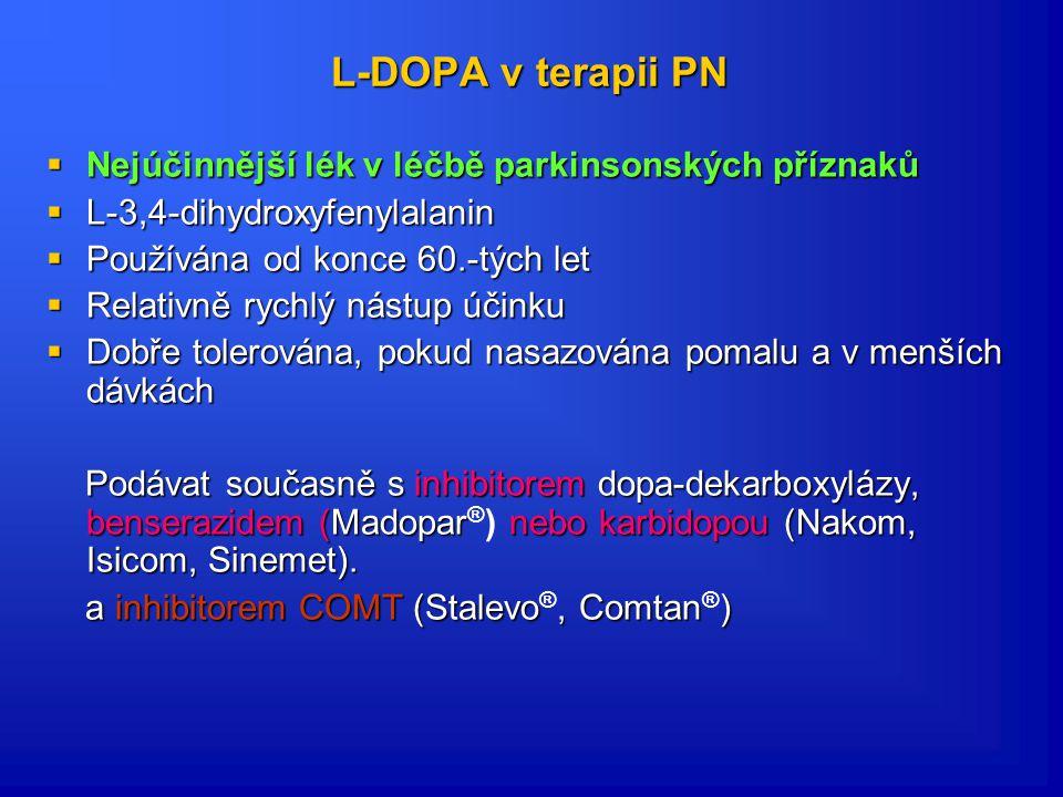 L-DOPA v terapii PN Nejúčinnější lék v léčbě parkinsonských příznaků