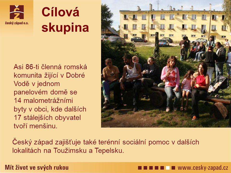 Cílová skupina Asi 86-ti členná romská komunita žijící v Dobré Vodě v jednom panelovém domě se 14 malometrážními byty v obci, kde dalších.