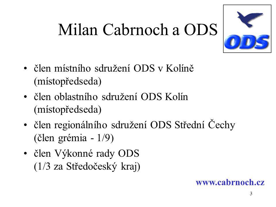 Milan Cabrnoch a ODS člen místního sdružení ODS v Kolíně (místopředseda) člen oblastního sdružení ODS Kolín (místopředseda)