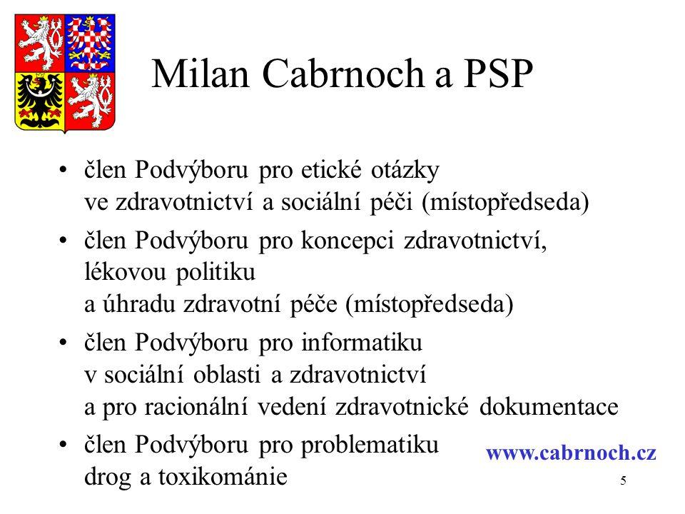 Milan Cabrnoch a PSP člen Podvýboru pro etické otázky ve zdravotnictví a sociální péči (místopředseda)
