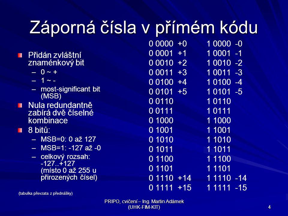 Záporná čísla v přímém kódu