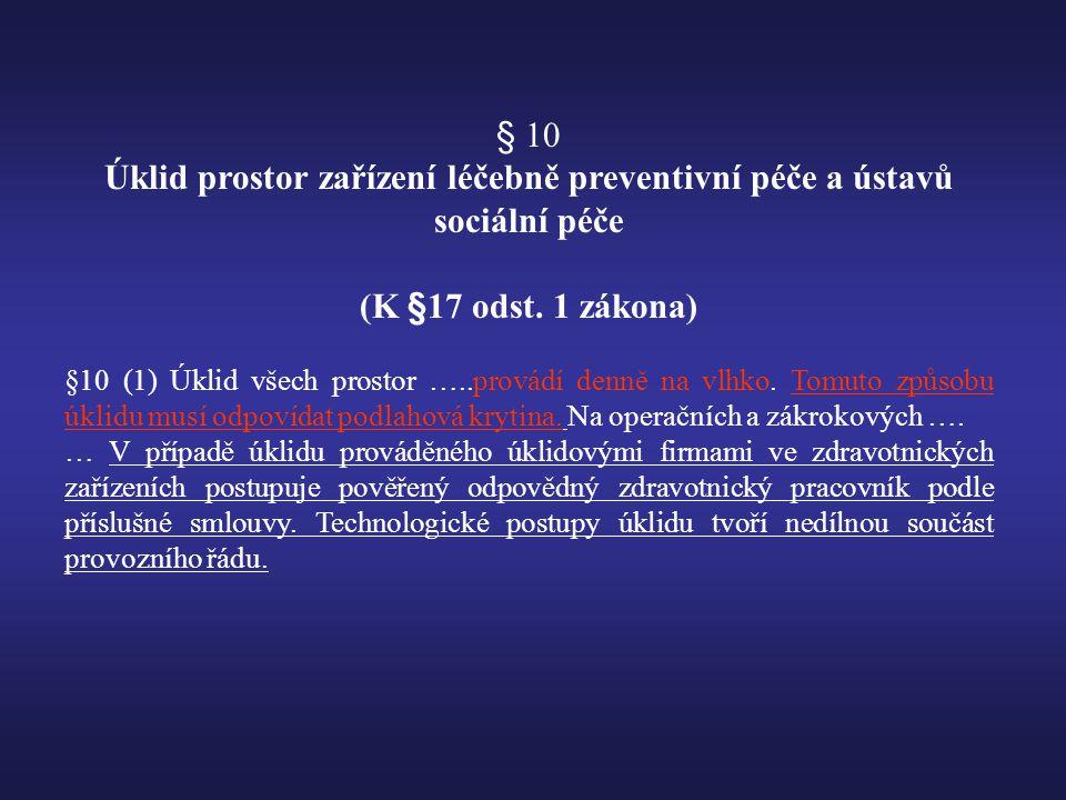 Úklid prostor zařízení léčebně preventivní péče a ústavů sociální péče