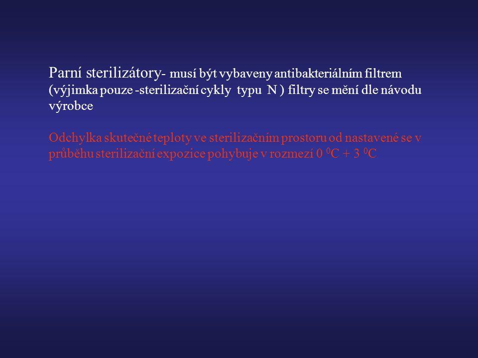 Parní sterilizátory- musí být vybaveny antibakteriálním filtrem