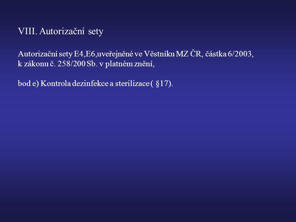 VIII. Autorizační sety Autorizační sety E4,E6,uveřejněné ve Věstníku MZ ČR, částka 6/2003, k zákonu č. 258/200 Sb. v platném znění,