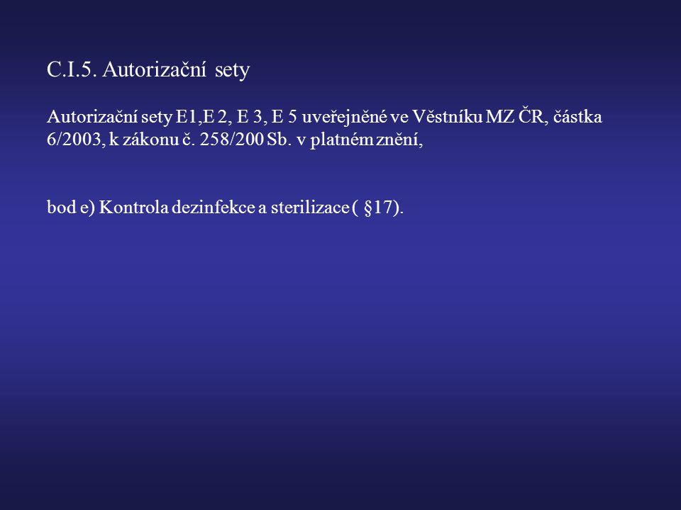 C.I.5. Autorizační sety Autorizační sety E1,E 2, E 3, E 5 uveřejněné ve Věstníku MZ ČR, částka 6/2003, k zákonu č. 258/200 Sb. v platném znění,