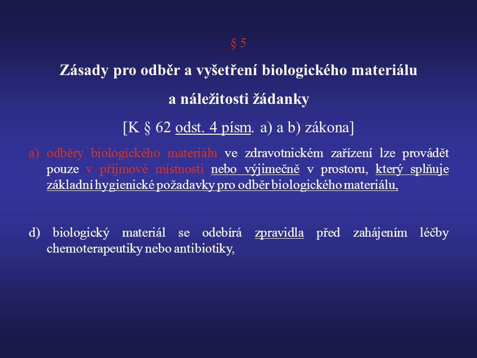 Zásady pro odběr a vyšetření biologického materiálu