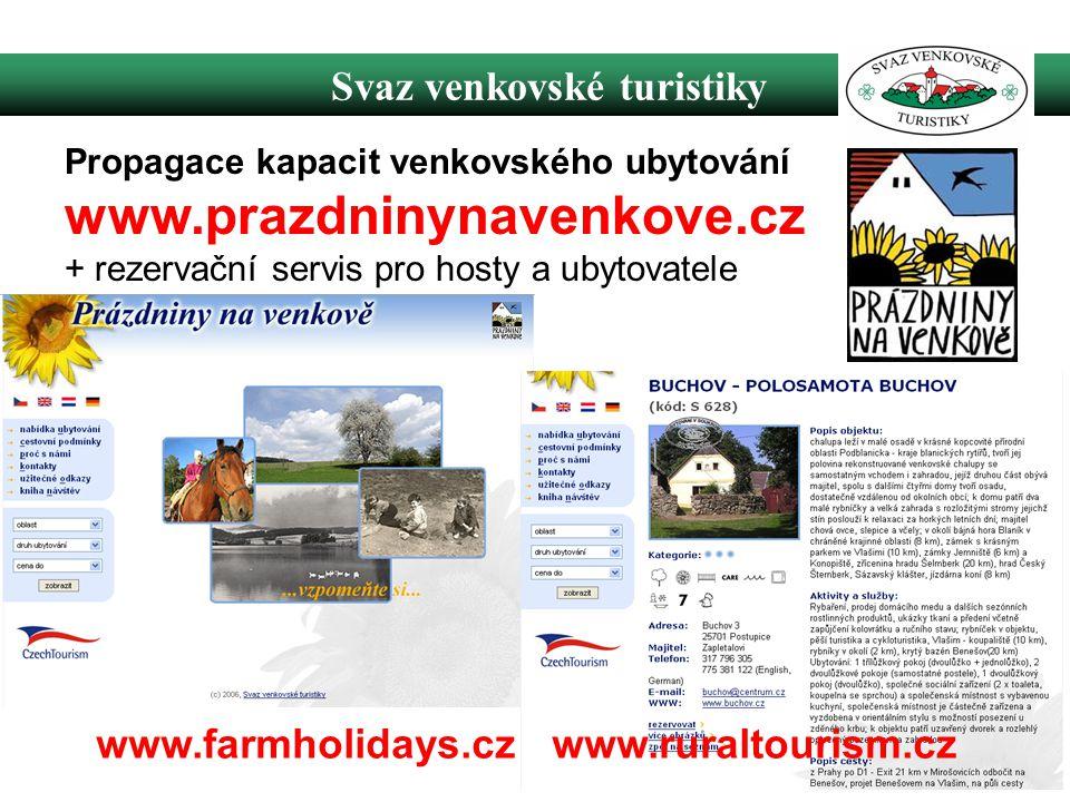 Svaz venkovské turistiky www.farmholidays.cz www.ruraltourism.cz