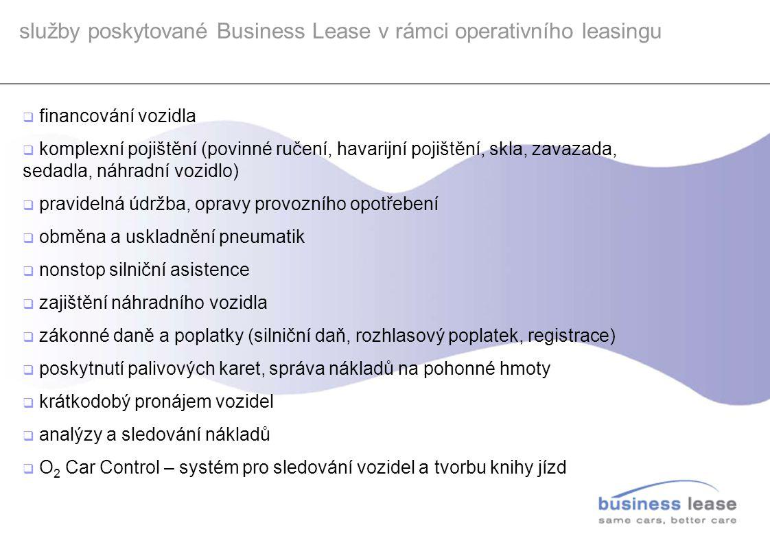 služby poskytované Business Lease v rámci operativního leasingu